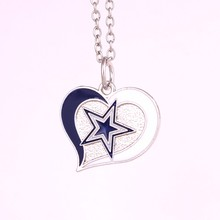 Drop shipping 1pcs Dallas Cowboys Football team logo Swirl Heart charm with link chain sport Necklace Fans collection(China)