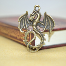 10Pcs Zinc Alloy Charms Antique Bronze Plated dragon Charms Pendants Metal Jewelry Findings Fit DIY 35*27mm 1419(China)