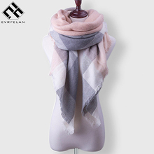 Fashion Winter Scarf For Women Cashmere Shawls Scarf Warm Women's Blanket Scarves Luxury Brand Women's Plaid Scarf Wrap