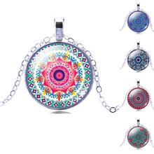Vintage Jewelry Silver Color with OM Symbol Buddhism Mandala Glass Cabochon Yoga Pendant Choker Glass Necklace India Jewelry(China)