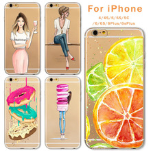 Case For Apple iPhone 6 6s Plus 6Plus 4 4S 5 5S SE 5C Soft Silicon TPU Transparent Fruit Grils Macaron Dessert Phone Capa Cases