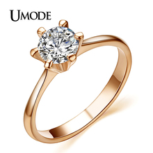 UMODE Rose Gold Color Classic 6 Prong Sparkling Solitaire Aneis Feminino 1ct CZ Wedding Rings JR0012A(China)