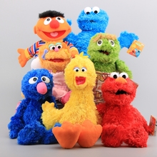7 Characters Sesame Street Hand Puppet Plush Toys Elmo Cookie Monster Ernie Big Bird Grover Children Soft Stuffed Dolls 21-40 CM