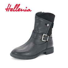 Hellenia 2017 Autumn Winter Short Boots Martin Boot Female Europe Wind Black Woman's PU leather Boots Ankle Plush lining winter(China)
