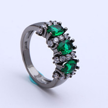 jewellery black gold-color green Czech zircon finger ring new design women Princess Cut Wedding Engagement Ring for lady