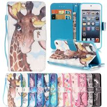 For Capa iPod Touch 6 Case Luxury Leather Flip 3D Painted Phone Case Coque Apple iPod Touch 5 6 Flip Wallet Silicone Back Cover(China)
