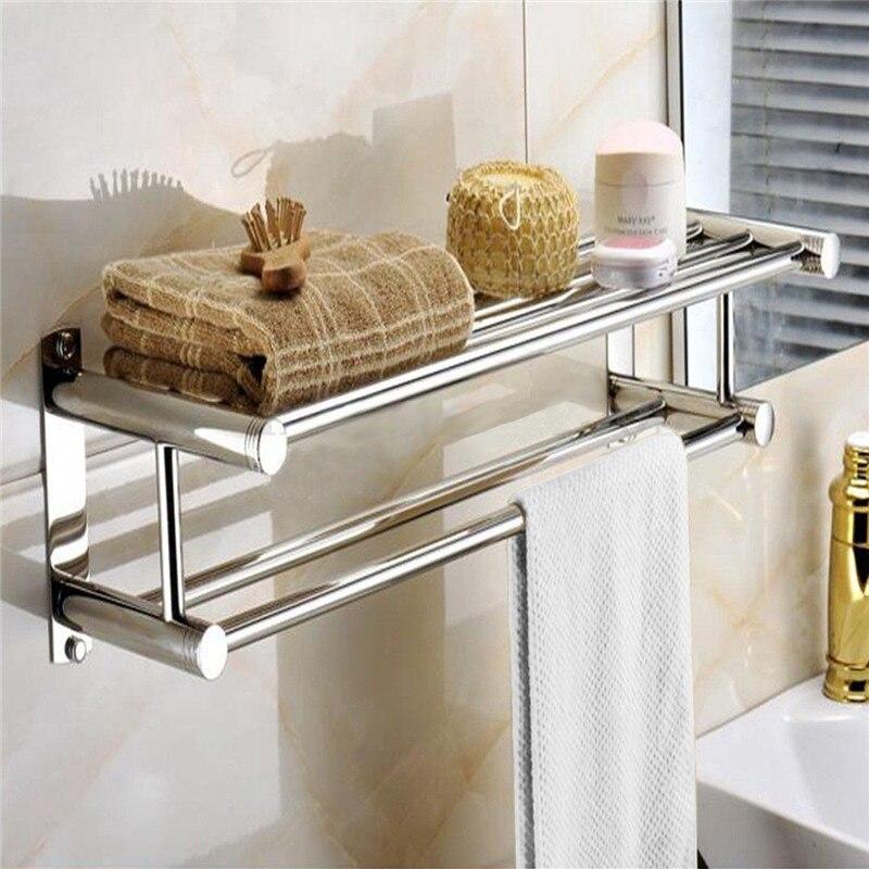 Wall Mounted Bathroom Towel Double Stainless Steel Rail Holder Shelf Storage Rack Bar Bathroom Tools Towel Racks<br>