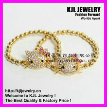 10pcs/lot free ship gold color with crystal hello kitty finding fashion bracelet(China)