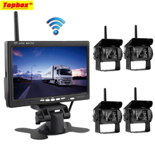"7"" Wireless Car Monitor Backup Camera System Rearview Screen 4 Rear View Cameras IR Night Vision Waterproof For Bus Agricultural"