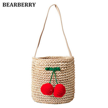 Bearberry 2017 hot sales handmade cute cherry ball shoulder bag straw bags beach bags bucket holiday bags for girls MN669(China)