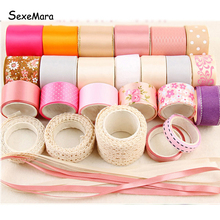 High Quality Sweet Pink Ribbon Set DIY Material Accessories kit Bow Hairpin Cotton Lace Printed Satin Ribbon Set .D238