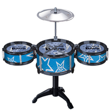 Children's Kid's Jazz Drum Set Musical Instrument Toy Playset with 3 Drums, Cymbal, Stand, Drumsticks - Random Color