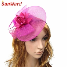 SunWard Newly Muti-Color Vintage Veiling Women Party Evening Lace Flower Feather Hats Bridal Hair Accessory Headband May11