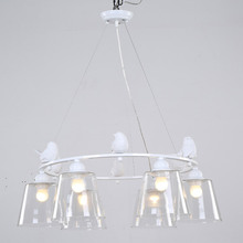 Modern Light Pendant Lamp E27 220V For Decor Dining Room Living Room Suspension Fixtures Glass Lampshade Resin Bird White Iron(China)