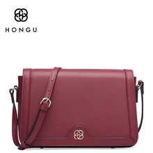 HONGU Genuine Leather Crossbody Shoulder Bags for Women Designer Handbags High Quality Small Square Casual Side Purse