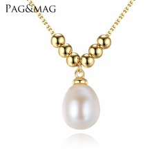 PAG&MAG Brand Fashion 925 Sterling Silver Gold-Color Link Chain With 8-9mm pearl  For Woman Necklace Jewelry Christmas Gift