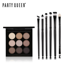 Party Queen Shimmer Matte 9 Artist Shadow Palette Earth Color Eye Shadow Kit+6PC Eyes Makeup Brush Makeup Naked Smooth Eyeshadow