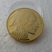 1 X Fine Gold Clad year 2007 $50 American BUFFALO Indian Head Copy gold Coin souvenir coin