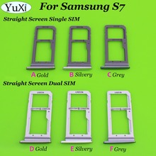 YuXi 3 Color Dual/Single Sim Tray For Samsung Galaxy S7 G930 G930F SIM Card Tray Slot Holder Replacement Part(China)