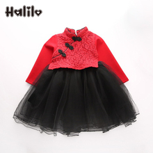 Halilo Toddler Girls Autumn Dresses Long Sleeve Girls Princess Dress Kids Clothes Girl Thanksgiving Dress Halloween Costumes(China)