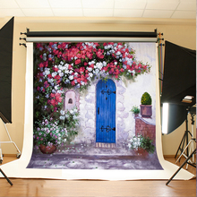 Wedding Background White Red Flowers Photo Backdrop Vinyl Green Leaf Blue Wooden Door Background for Photographic Studio(China)