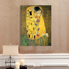 100% Hand Painted Gustav Klimt Kiss Oil Painting On Canvas Abstract Artworks For Home Wall Decor Without Frame