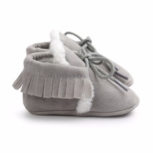 Newborn Baby Boy Girl PU Suede Leather Moccasins Fringe Soft Soled Non-slip Footwear Crib Shoes