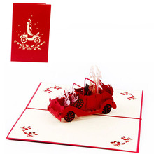 2017 New Pop Up 3D Cards Wedding Car Valnetine Anniversary Invitation Personalised MAR23_30