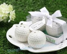 200pcs=100sets/Lot Small Wholesales Ceramic Golf Ball Salt and Pepper Shakers Wedding Favors For Guest FREE SHIPPING
