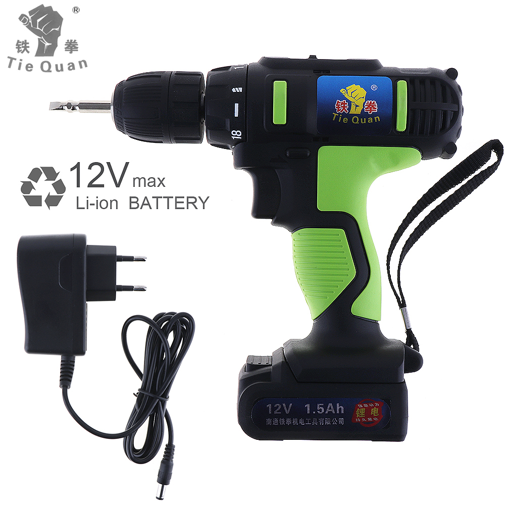 AC 100 - 240V Cordless 12V Electric Drill / Screwdriver with 18 Gear Torque and Two-speed Adjustment Button<br>