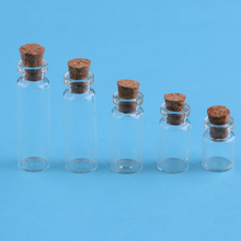 5 Pcs Clear Mini Message Wishing Glass Bottle Cork Empty Small Tiny Transparent Vials Bottle