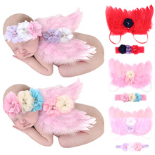 2pcs Lovely Angle Wings Feather Wings Baby Girl Headband Photo Shoot Baby Prop Accessories  Photography Props Newborn 0-6 Months