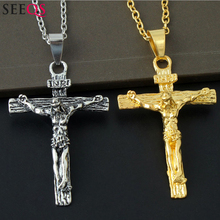 SEEQS Men Fashion Chain Cross Crucifix Jesus Christian Necklaces Pendant Stainless Steel T-shirt Jewelry Gold Silver VQ040