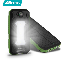 12000mAh Solar Power Bank Dual USB Outdoor Sports External Battery Pack Portable Charger With LED Lighting poverbank(China)