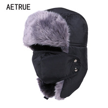 Winter Hat Bomber Hats For Men Women Thicken Balaclava Cotton Fur Winter Earflap Keep Warm Caps Russian Skull Mask Bomber Hats(China)