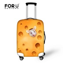 FORUDESIGNS Suitcase Protective Covers 3D Mouse Cat Print Super Elastic Stretch Cover Case Travel Luggage Cover Zip Dust -proof