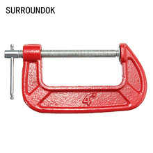Adjust Heavy Duty G Clamp 1/2/3inch C/W Soft Jaw Pads 25mm -100mm G Clamp Iron Red For Woodwork Metal Clamping
