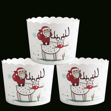 Big Size 6x5.3x7CM 50ps/bag New Snowman Pine tree Jingle Bell Sauta Clause Elk design Merry Xmas Christmas Paper baking cake cup