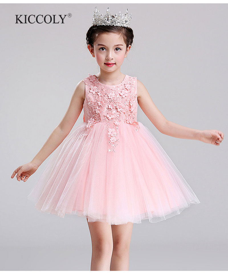 Top Quality Brand Girl Wedding Dress Flower Girl Dress Sequin Princess Party Dress Children Bridesmaid Clothes 3 Colour<br>