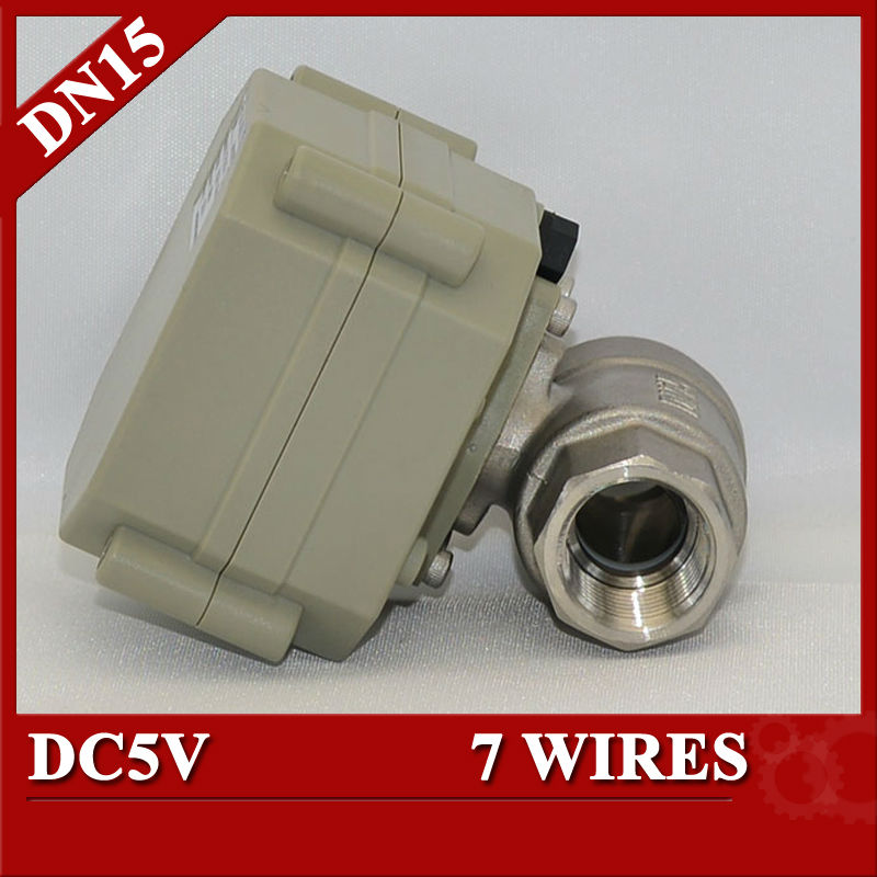 1/2 Electric motorized ball valve SS304, DC5V electric motor control valve 7 wires control, DN15 Automatic ball valve<br><br>Aliexpress