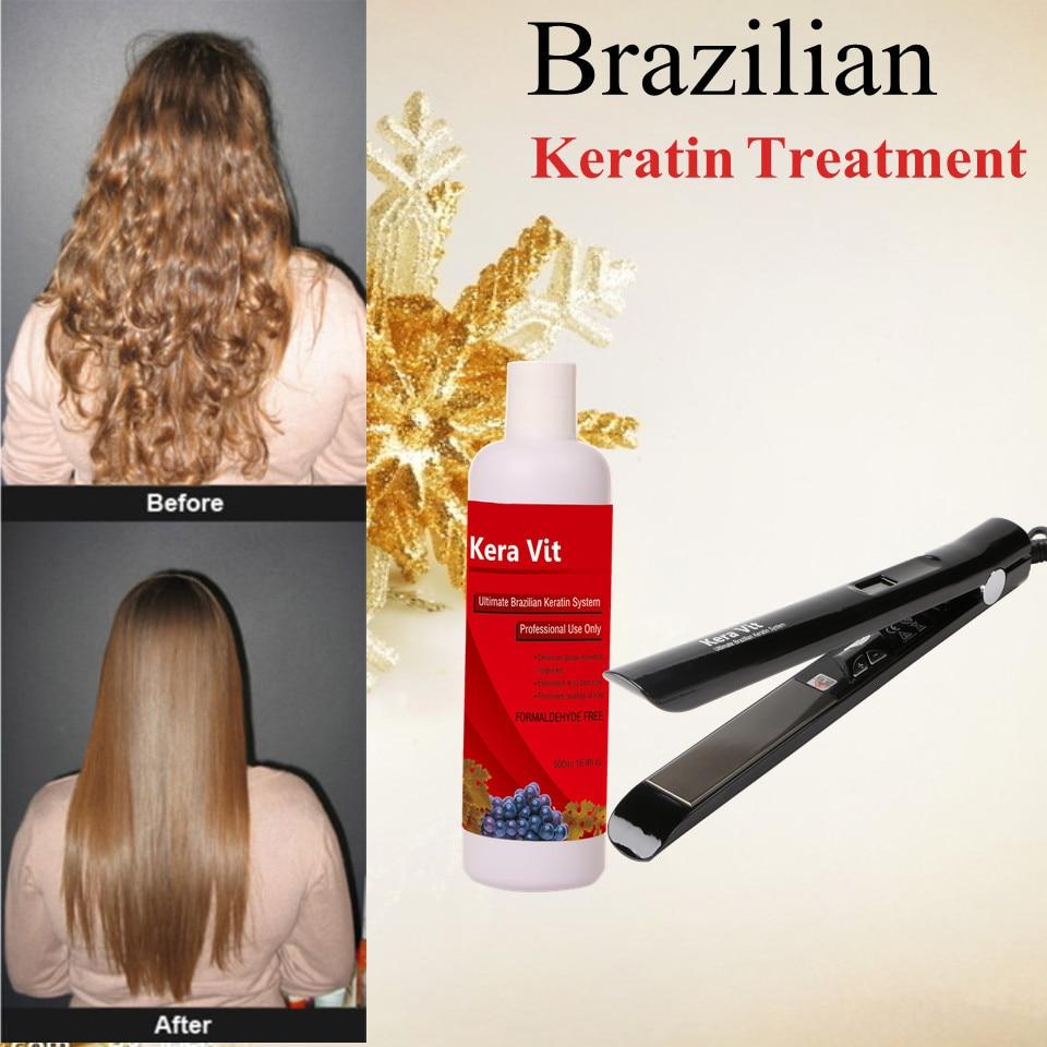 Brazilian Grape free formaldehyde  keratin treatment straighten hair product+hair flat iron soften and smoothing hair<br><br>Aliexpress