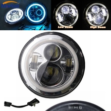 "For Harley Davidson Motorcycles  7"" LED Headlight Conversion Kit DLR Light Assembly For JK Hummer Trucks Headlamp"