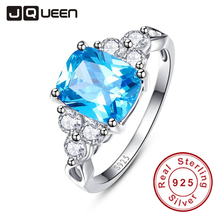 2017 luxurious Blue Ring Genuine 925 Sterling Silver Cocktail Party Rings Topaz Stone Women Female Size 6-9 Free Gift Package(China)