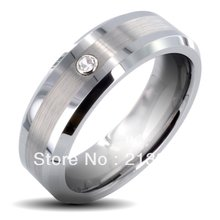 Free Shipping Buy Cheap Discount Price USA HOT Selling 8MM Men&Womens Brushed  Center With Zircon Beveled Tungsten Wedding Rings