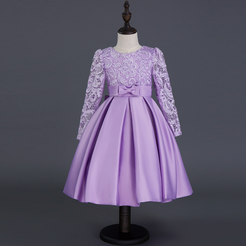 Girls Europe The United States Children Princess Long Sleeved Purple Lace Flower Dress Female Costume Kids Clothing Bow Purple<br>