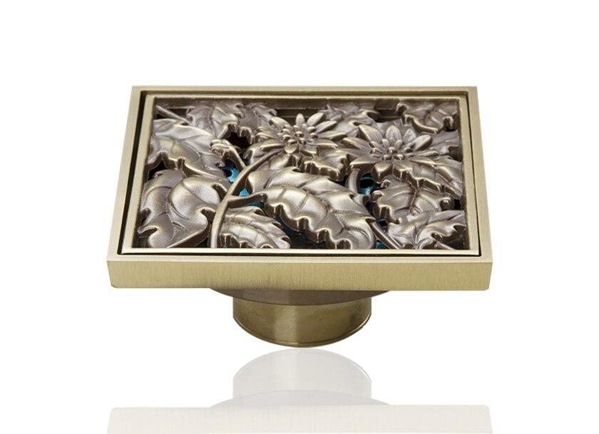 L5402 Antique Brass Gravity Flushing  Bathroom Floor Drain Square Floor Drain Strainer Cover Sink Bathtub Basin Kitchen<br>