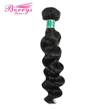 [Berrys Fashion] Peruvian virgin hair Weave Loose Wave Hair Extension 1PC/lot 100% Unprocessed Human Hair Bundles 100g Hair Weft(China)