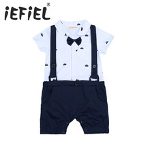 Newborn Infant Baby Toddler Tuxedo Jumpsuit Boy Gentlemen Bow Tie Rompers Wedding Birthday Short Sleeve One-piece Party Clothes