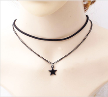New Arrival Leather Rop star Double Chain Necklaces & Pendants Vintage Rhinestones Collar Choker Necklace