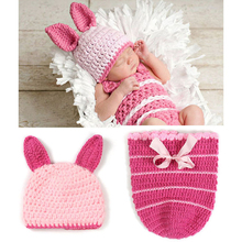 Pink Rabbit Newborn Hat Photography Props Cotton Knitted Baby Caps With Ears Lovely Butterfly Knot Hats Baby Girls Clothing(China)